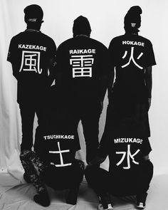 B L V C K  5 Kage Shirts Naruto