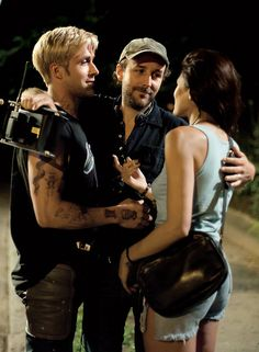 Ryan Gosling, Derek Cianfrance and Eva Mendes on the set of The Place Beyond the Pines