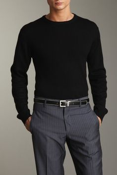 Pierre Balmain Merino Crew Neck Sweater in Black