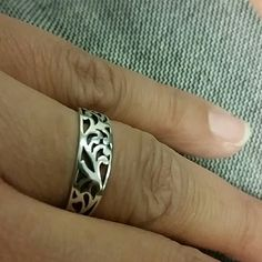Sterling silver ring, never used size 8, brand new Sterling silver ring, with beautiful design. Size 8 Jewelry Rings