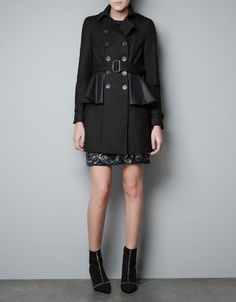 Leather Peplum Trench Coat - ZARA  My newest coat purchase! Can't wait to wear this...