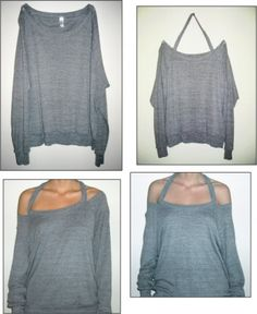 I think the entire world owns this American apparel grey raglan pullover. Anyways, just a thought on how to update it a bit. I just took a scissor (my go to weapon of choice) and cut along the rib just to the front raglan seams. Not too hard – and makes a rad update!