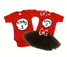 Thing 1 and Thing 2 Twin Onesie/ Tutu Set- Logans Locker Laylas Runway specializes in creating unique personalized apparel and accessories with a great look for your little boys or girls of all ages. Our personalized apparel products make great personalized gift ideas for friends and family and are perfect for new born babies, toddlers, teens birthdays, family reunions, fundraisers, special occasions.