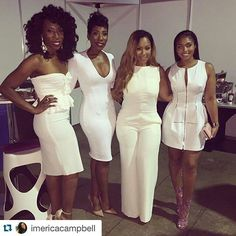 Erica Campbell with Karli, Brandi, & Lori Harvey. All White Party Outfits, All White Outfit, Classy Outfits, Beautiful Outfits, Girl Outfits, Fashion Outfits, Lori Harvey, Marjorie Harvey, White Wardrobe