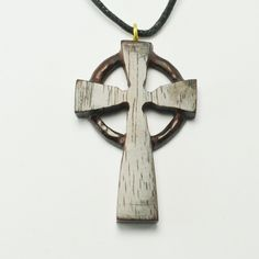 "Celtic Cross Pendant Hand carved Sono wood Celtic Cross Pendant with adjustable necklace cord to fit all sizes. Approximately 1.75"" Length by 1"" Width. Jewelry Necklaces"