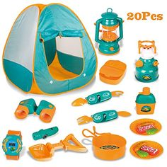 LBLA Tente De Camping Enfant avec Cuisine et Kit de Survie Accessoires d'ExtérieurJouet Jeu Aventurier pour des Gamins de 3 Ans Kids Camping Gear, Camping With Kids, Tent Camping, Materiel Camping, Teepee Kids, Pop Up Tent, Indoor Play, Outdoor Survival, Survival Kit