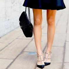 Classic bag, Classic LBD, Classic Valentino Rockstuds, can't go wrong! #FarfetchXCovetMe #covetme