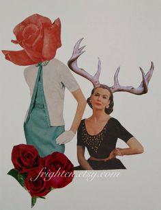 OOaK Paper Collage Spring Art Surreal Art Retro Art by frighten