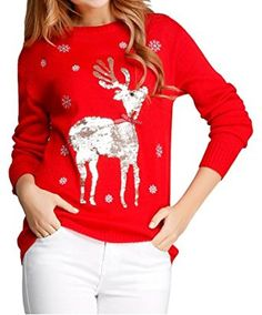 V28 Women Girl Christmas Shining Reindeer Snowflake Pullover Sweater Jumper