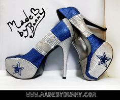 Dallas Cowboys NFL Football Glitter Sports Heels by MadeByBunny ~Shoes I would wear and shoes the hubby is guaranteed to buy!!!!~
