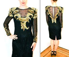 90s Black and Gold Sequin Dress Size M// VIntage by Hookedonhoney, $225.00
