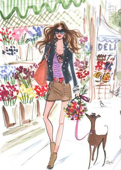 Woman in Paris in heels walking her dog.  Illustration is by the talented French designer ~Izak Zenou~, who has created his signature style,  specialising in fashion illustration.