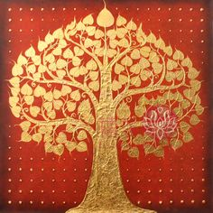 Bodhi tree - gold foil painting