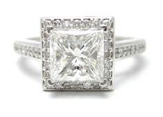 2CT PRINCESS CUT DIAMOND ENGAGEMENT RING ANTIQUE STYLE PAVE SET P23