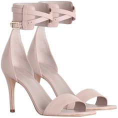 Zimmermann Ankle Strap Sandal (£260) ❤ liked on Polyvore featuring shoes, sandals, heels, ankle wrap sandals, leather sandals, nude shoes, ankle strap shoes and high heel shoes