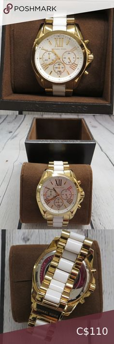 Michael Kors Bradshaw Watch Beautiful authentic Michael Kors Bradshaw Watch in white and gold. Watch face is large, please refer to picture 4. No links were removed so they can be removed if you require it to be sized. No scratches on the face but some minor wear on the band. Overall, in good condition. Please note: a better is required. Michael Kors Accessories Watches Michael Kors Bradshaw Watch, Michael Kors Watch, Marc Jacobs Watch, Michael Kors Sunglasses, Michael Kors Rose Gold, Rose Gold Watches, Women's Accessories, Note, Band