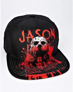 best website 0b949 71a54 Bloody Jason Voorhees Snapback Hat - Friday The 13th - Spencer s