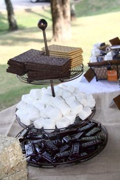 S'mores - smores Themed Camping Birthday Party.  The ingredients for the S'mores look so nice on a tiered tray.