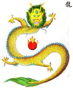 """Le #dragon, selon une #légende chinoise, diminue ou augmente sa taille à volonté. A l'#équinoxe du printemps, il monte aux Cieux; à l'équinoxe d'automne, il s'enfonce dans les eaux. Il porte sur sa tête une éminence, en forme de #montagne, c'est ce qu'on désigne sous le nom de """"tche mou """", seuls les dragons qui portent cette marque distinctive ont le pouvoir de monter au Ciel. Parmi les caractères distinctifs du dragon, 9 particularités sont remarquables... #numelyo #jaune #couleur #color"""