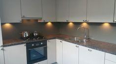 Collorz luxe aluminium keukenachterwand in matlak RAL7042