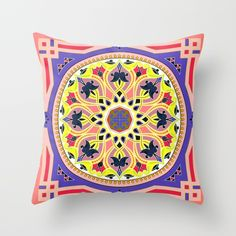 Boho Floral Crest Yellow and Peach Throw Pillow
