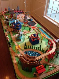 Elijah's train table Kids Play Table, Kid Table, Ikea Lillabo, Thomas The Train Tracks, Train Table, Lego Room, Wooden Train, Kids Wood, Train Layouts