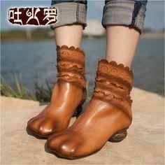 吐火罗原创真皮短靴单靴女春秋 民族风短靴 个性鞋头女靴休闲短靴