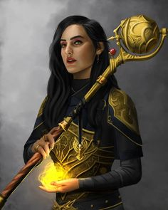 Fantasy Magician, Fantasy Wizard, Fantasy Warrior, Dungeons And Dragons Characters, Dnd Characters, Fantasy Characters, Female Characters, Female Character Design, Character Art