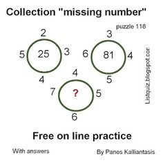 Brain teasers and puzzles: Puzzle 118-Find the missing number Missing Number, Number Puzzles, Brain Teasers, Numbers, Math Equations, This Or That Questions, Words, Collection, Mind Games