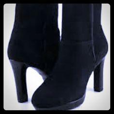 """Ellen Tracy Suede Booties Dress up your look with these suede upper1/2"""" platform 4"""" heel booties. Ellen Tracy Shoes"""