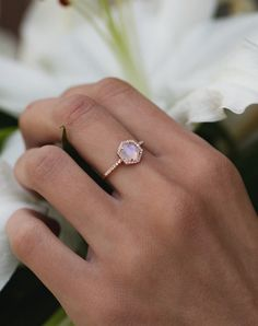 14kt gold and diamond moonstone hex ring – Luna Skye by Samantha Conn