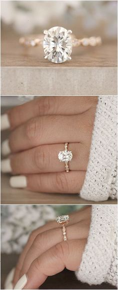 2.00cts Moissanite Oval Forever Classic Engagement Ring Oval 9x7mm Moissanite and Diamond Solitaire Wedding Ring Rose Gold Moissanite Ring #RoseGoldJewellery #engagementringsclassic