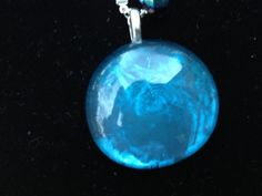 Brilliant Blue Metallic Glass Sparkle Pendant on Silver Purple Sparkle Chain Necklace on Etsy, $17.00