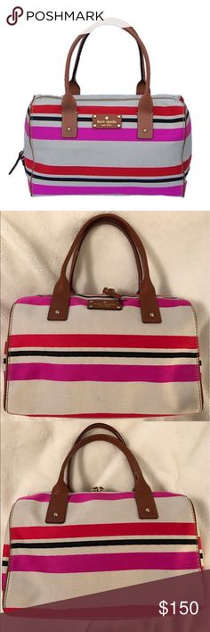 ♠️ Kate Spade ♠️ Oak Island Kaleigh Kate Spade 'Oak Island' Kaleigh handbag. Leather handles and accents. Tags removed but bag never actually carried, has been sitting in my closet unloved! Measures approx. 12 x 9 x 4 with a 6 in. handle drop. No dust bag. kate spade Bags Satchels