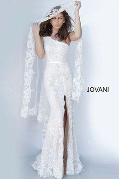 Jovani 00866 One Shoulder Lace Dress Jovani Wedding Dresses, Slit Wedding Dress, Fitted Prom Dresses, Jovani Dresses, Slit Dress, Pageant Dresses, Wedding Gowns, Bridesmaid Dresses, Lace Wedding
