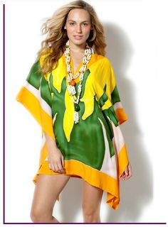 Banana The Glamourpuss NYC summer poncho, the perfect addition to your wardrobe and a fresh alternative to the tunic. This colorful item, with the print created exclusively for us by Bermudian artist Dana Cooper and hand batiked in Bali, is an original piece of art, designed to punch up your wardrobe pool side, beachside or out on the town. Just slip it over your swimsuit or pair it with white jeans or leggings, and you look instantly and effortlessly chic. The poncho has draw strings on…