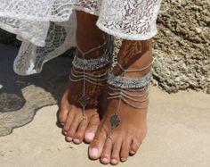 Damen Gold Strass barfuss Sandalen für Strand von ForeverSoles