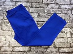 WOMANS FASHION LADIES CROPPED ROYAL BLUE COTTON SATIN TROUSERS SIZE 16  (w25) £9.90