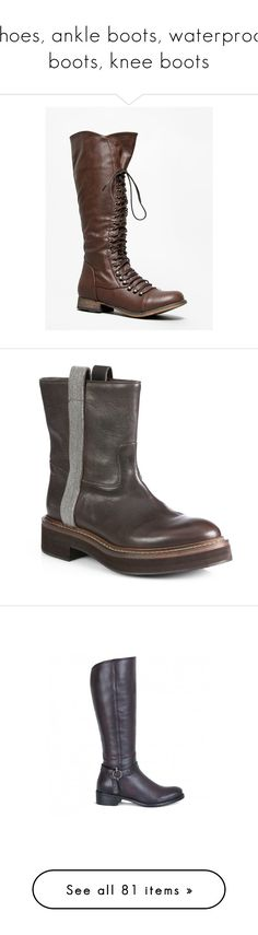 """""""Shoes, ankle boots, waterproof boots, knee boots"""" by lorika-borika on Polyvore featuring shoes, boots, riding boots, strappy flat boots, tory burch knee high boots, flat knee high boots, strappy boots, botas, brown и footwear"""