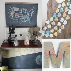 10 Great Decor Ideas For Globe-Trotting Tots...I love the idea of coloring in a map after visiting each state!