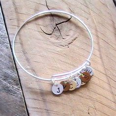 Adjustable Bangle Bracelet, Sterling Silver plated with initial tags