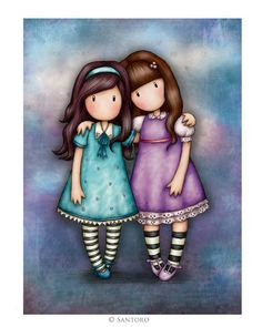 Gorjuss Cards - We Walk Together artwork. An exclusive Santoro london greeting card, now online! Click and view now! Decoupage, Art Mignon, Santoro London, Happy Planner, Cute Drawings, Cute Art, Paper Dolls, Little Girls, Whimsical