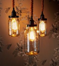 Upcycle old jars into easy, mason jar hanging lights for a charming, vintage glow.