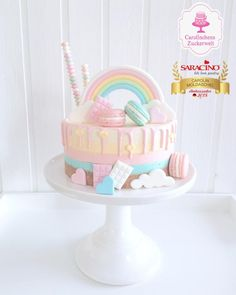 💕 Rainbow - Amarettini - no bake - Cheese - Dripcake 💕 - cake by Carolinchens Zuckerwelt Cute Birthday Cakes, 1st Birthday Girls, Baked Cheese, Rainbow Birthday, Cake Rainbow, Rainbow Dash, Cute Desserts, Almond Cakes, Candy Party