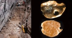 Santa ELina rock shelter excavation site above left and sloth bone ornaments with drilled holes above right.