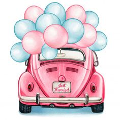Watercolor Pink Shiny Vintage Car With Balloons Celebration Illustrator, Cute Easy Drawings, Fashion Wall Art, Vintage Cars, Vintage Auto, Cute Art, Watercolor Art, Pop Art, Illustration Art