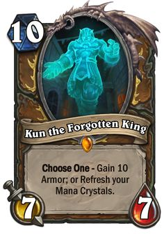 Kun the Forgotten King - Hearthstone Cards Hearth Stone, Deck Builders, Minions, King, Crystals, Cards, News, Tattoo, The Minions