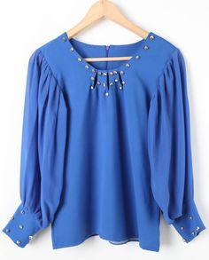 Blue Long Sleeve Rivet Embellished Chiffon Blouse