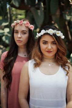 Handcrafted flower crowns perfect for weddings, bridesmaids, flower girls, and every day wear. #flowercrowns #floralheadbands #flowers #floral #boho #lucyhale #bridesmaidflowercrowns #weddings #bride #bohobride #chokers