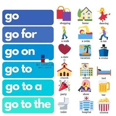 Go and its phrasals English Help, Better English, English Course, Learn English Words, English Fun, English Study, English Lessons, Slang English, English Verbs